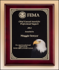 9 X 12 Rosewood piano-finish plaque with eagle head plate