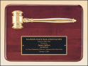 "9"" X 12"" Rosewood stained plaque with a gold electroplated gavel"