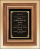 "13"" X 16"" Solid American walnut framed plaque with gold trim"