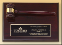 "9"" X 12"" Rosewood stained piano finish gavel plaque"