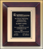 "12"" X 15"" Cherry finish frame plaque w. black and gold fl plate"
